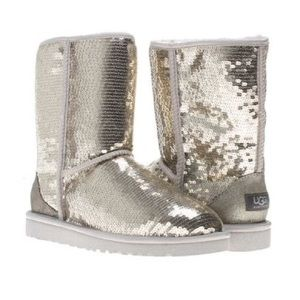 UGG Gold Sequin Shearling Short Classic Boots 8